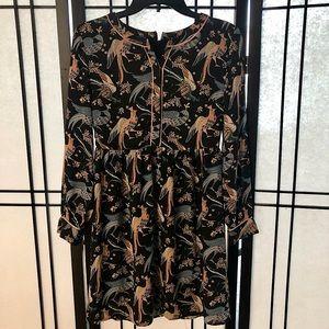 Ann Taylor Loft Colorful Bird Dress